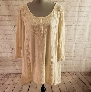 LOGO by Lori Goldstein Embroidered Top Sz 3X
